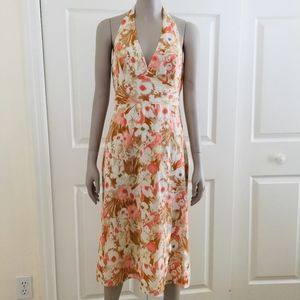 Halter dress coral tan floral Laundry Shelli Segal